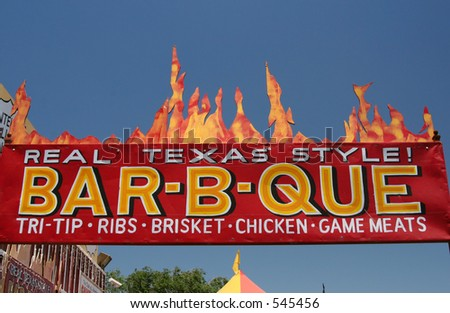A barbecue sign at Charlie Brown Farms, a gift and souvenir shop in the Antelope Valley, California. - stock photo