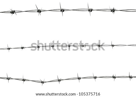 a barbed wire isolated on white