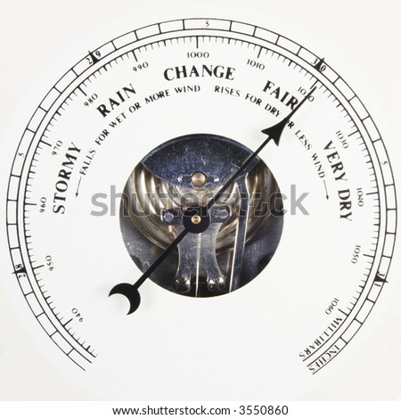 A barometer dial set to fair