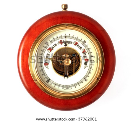 A barometer showing a change from Stormy conditions. The light is highlighting the Stormy portion of the barometer for effect. Could be used for weather or to show a change in a stormy economy. - stock photo