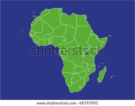 a basic map of africa with water in blue and land in green