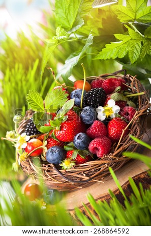 A basket of mixed summer berries - stock photo