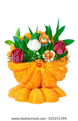 A basket of vegetables, carved vegetables. On a white background. - stock photo