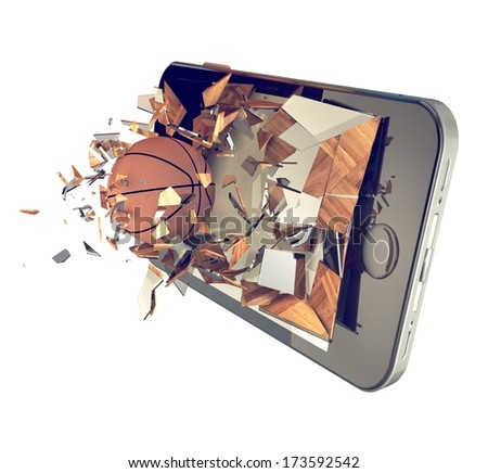 A Basketball ball on cell phone. Broken glass mobile phone with basketball ball. A sport action or app concept - stock photo