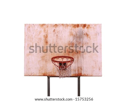 A basketball hoop isolated over white - includes clipping path. - stock photo