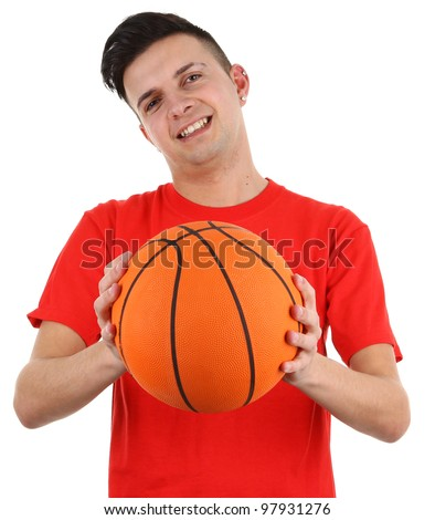 A basketball player holding a ball, isolated on white - stock photo