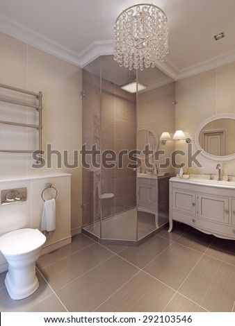 A bathroom in modern style. Tile pattern in brown and beige colors. 3D render.