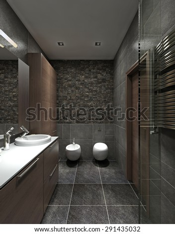 Bright bathroom classic style luxury chandelier stock illustration 298060505 shutterstock - Model deco wc ...