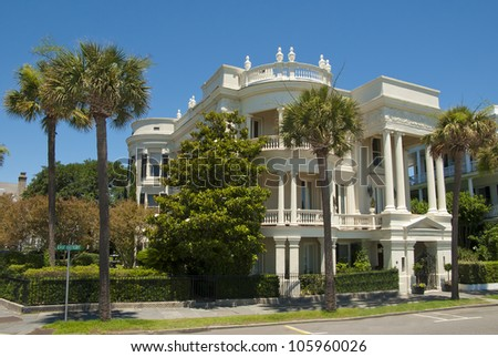 A Battery Victorian House style of architecture in Charleston, South Carolina. - stock photo
