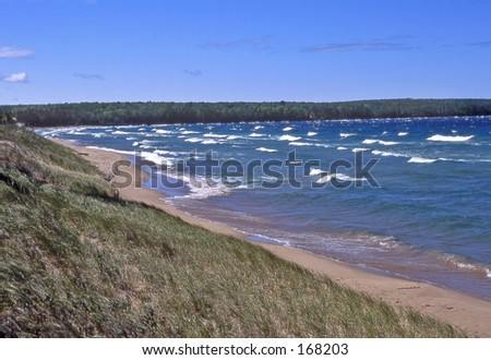 A beach along Lake Superior. - stock photo