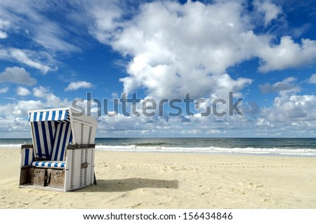 a beach basket on the beach of Sylt