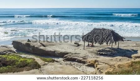 A Beach Hut in La Jolla - stock photo