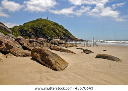 A beach in honey island (ilha do mel), brasil - stock photo