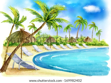 A beach resort by the ocean with many palm trees and sun chairs. - stock photo