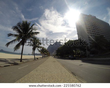 A beach side highway lined with palm trees. - stock photo