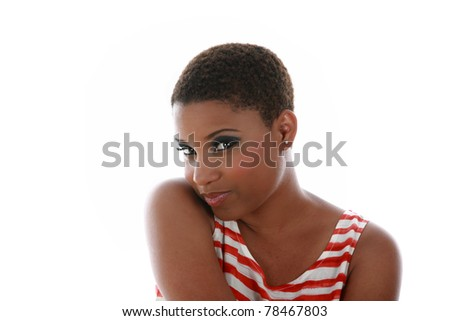 A beautiful African American adult woman smiling. isolated on white with room for your text. - stock photo