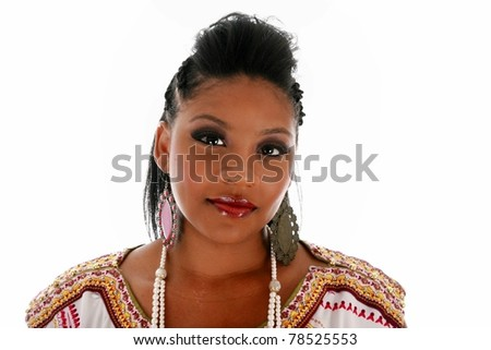 A beautiful african american woman hair style / beauty  / fashion studio shots. Isolated on white with room for your text - stock photo