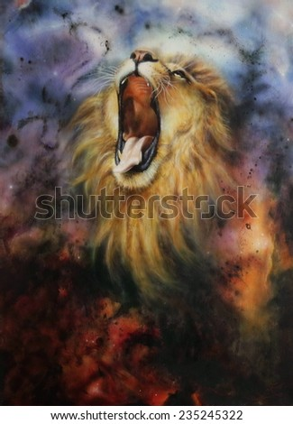 A beautiful airbrush painting of a roaring lion on a abstract cosmical background - stock photo