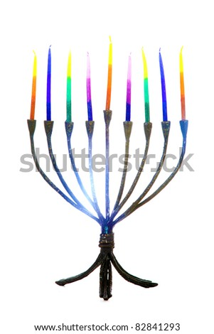 a beautiful and colorful menorah with an american flag background - stock photo