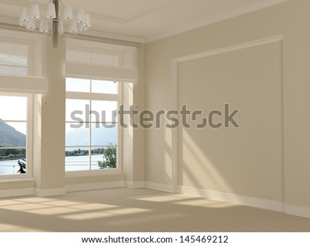 A beautiful and spacious room in white with large windows with a nice view - stock photo