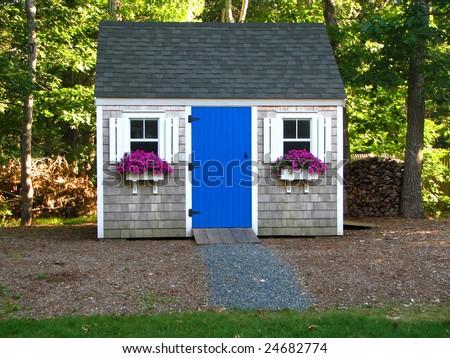 A beautiful backyard shed - stock photo