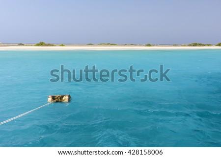A beautiful beach in the Caribbean - Little Curacao, Dutch Antilles - stock photo