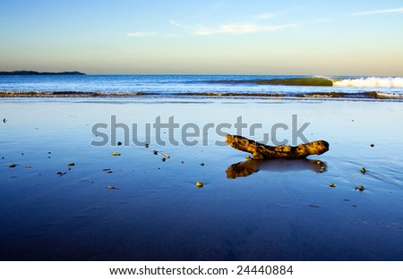 A beautiful beach scene at dusk, Taipa Beach, Northland, New Zealand