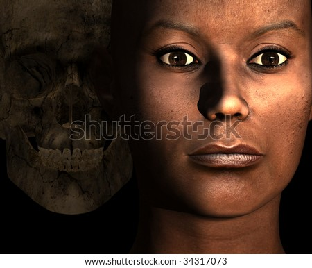 A beautiful Black woman, close up of her face with a evil skeleton looking over her shoulder from the shadows - stock photo