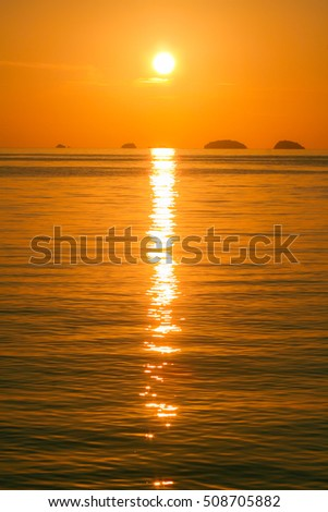 A beautiful blazing sunset at Koh Adang  (Adang Island), Lipe Island, Tarutao National Marine Park, Satun Province, the southern part of Thailand