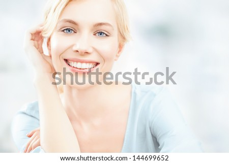 A beautiful blonde woman posing. - stock photo