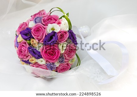 A beautiful bridal bouquet at a wedding party