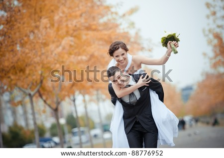 A beautiful bride and groom - stock photo