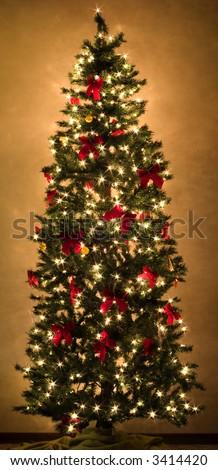 a beautiful christmas tree glowing with lights - stock photo