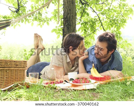 A beautiful couple in love - stock photo
