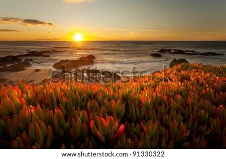 A beautiful, dramatic sunset on the Big Sur coastline of California - stock photo