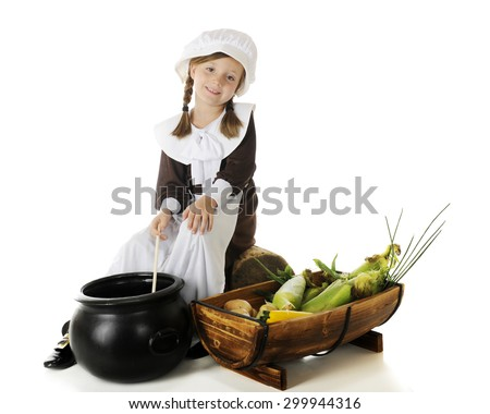 A beautiful elementary Pilgrim girl stirring a large cauldron with Thanksgiving vegetables by her side.  On a white background.