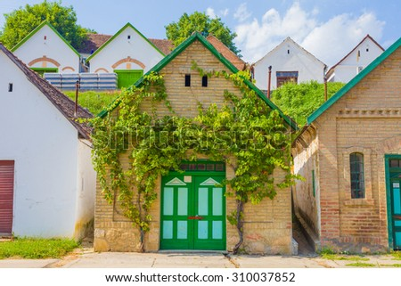 A beautiful entrance to a traditional vineyard and cellar in Villany, Baranya county, Hungary. - stock photo