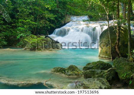 A beautiful Era-wan waterfalls with clear water
