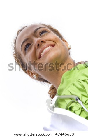A beautiful female doctor in a lab coat - stock photo