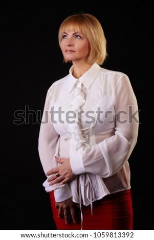 Beautiful Fiftyyearold Woman Light Short Haircut Stock Photo
