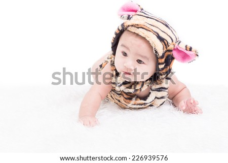 A beautiful five month year old baby boy wearing a tiger dress . Isolated on white.