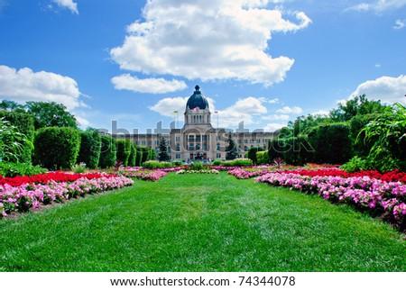 A beautiful flowerbed in front of Legislature building, Regina, Saskatchewan - stock photo