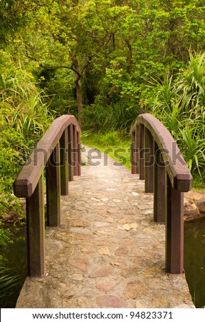 a beautiful front view of a peaceful little rock bridge and a path towards a forest - stock photo