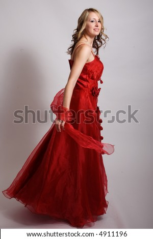 A beautiful girl in a red dress