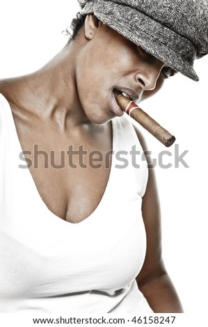 a beautiful girl of african descent with hat and a cigar