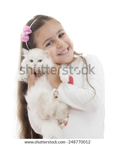 A Beautiful Girl Playing with A Cat Isolated on White Background - stock photo