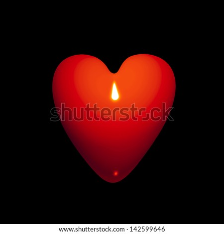 A beautiful, glossy, ripe red heart representing a new, young love, isolated on black - stock photo