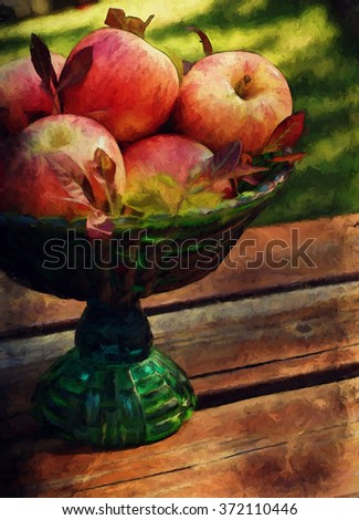 A beautiful harvest centerpiece filled with apples turned into a colorful autumn painting - stock photo