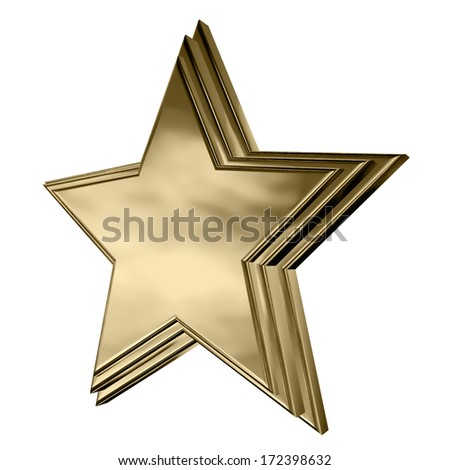 A beautiful illustration of a single gold star with a stepped face.