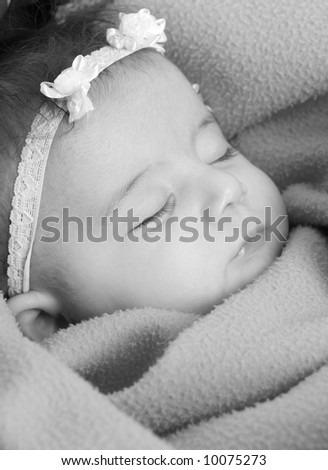 A beautiful infant sound asleep. family, love, childhood - stock photo